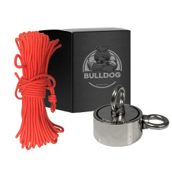 Aimant Néodyme DOUBLE Face 420kg + corde renforcée 30m type Bulldog
