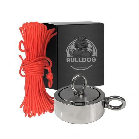 Aimant Néodyme DOUBLE Face 800kg type Bulldog + corde renforcée 30m