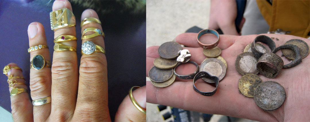 bijoux et or trouve avec un détecteur de metaux à la plage
