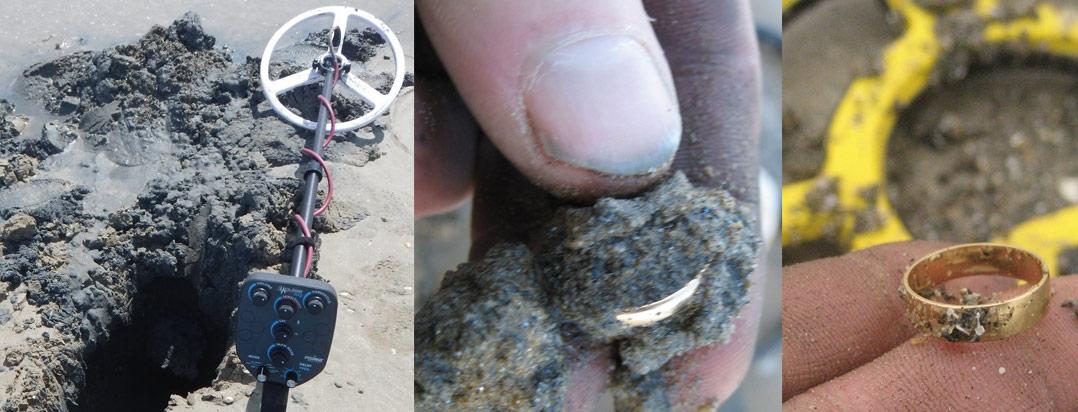 détection de métaux à la plage sur sable noir