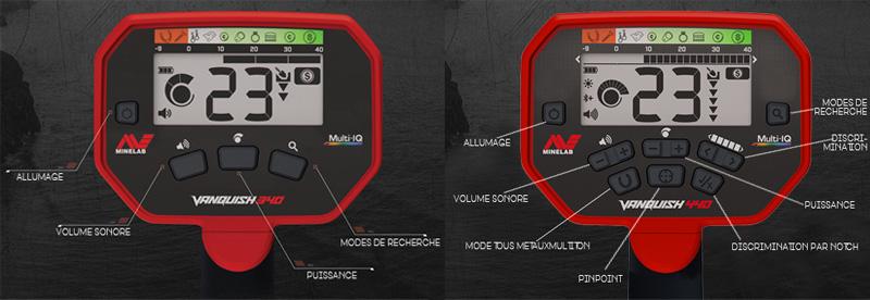 Comparatif des reglages des détecteurs minelab vanquish 340 et vanquish 440