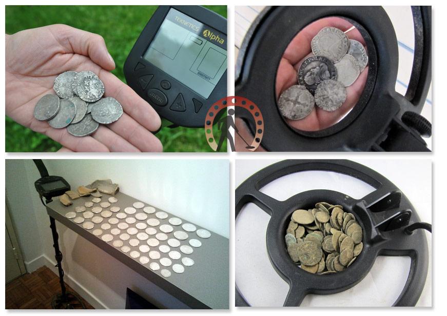 monnaies et trouvailles et trésors détectées avec un Teknetics ALPHA 2000