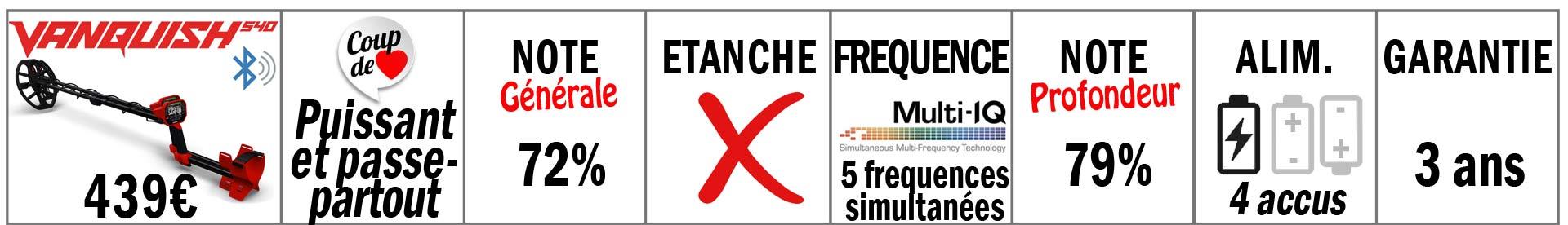 meilleur détecteur à 500 euros, le vanquish 540 de minelab